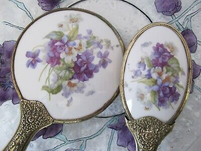 Vintage Vanity Set Brush and Hand Mirror Brass Enamel Violets with matching dish