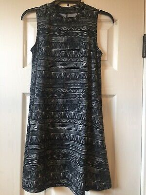 GIRLS Mudd Geometric Pattern Swing Dress Size10, black