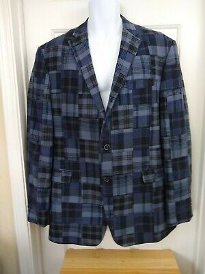 JOS A BANK Madras Patchwork Plaid Blazer Sport Coat Kentucky Derby Jacket 42L 42