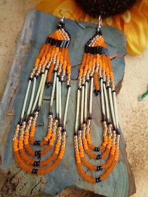 porcupine quill  Earrings NEW Navajo Green orange and yellow looped 3 1//2/""