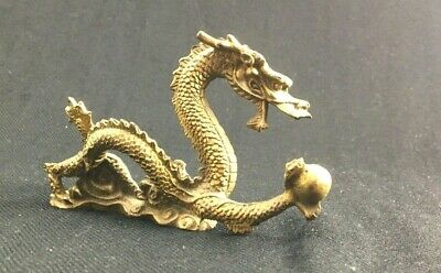 Vintage Carved Solid Brass Dragon With Ball Paperweight Figurine Sculpture