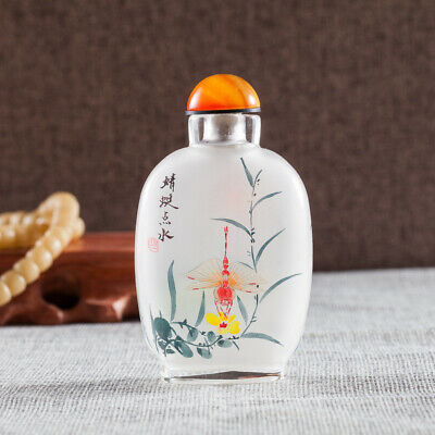 Inner Painting Snuff Bottle Chinese Antique Dragonfly Touch Water Christmas Gift