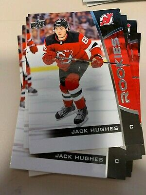 Lot of 10 - 2019-20 Upper deck box set JACK HUGHES NJ Devils Rookie cards RC