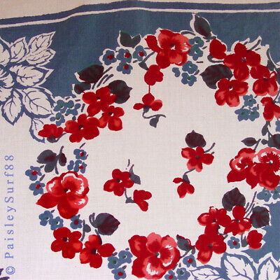 VTG 1950s Mid Century TABLECLOTH Cotton Blue Red Pansy Floral Wilendur ? As-is