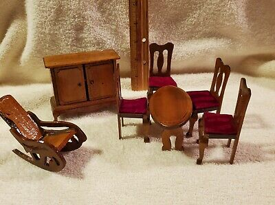 Dollhouse Miniature Furniture Dining Room Wooden Set