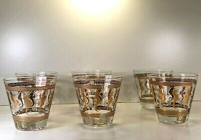 Fred Press Old Fashion Low Ball Glasses Seahorse Gold Grey Mid Century Signed