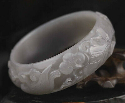 Natural hetian jade bracelet hand carved fish flower and double bird bangle