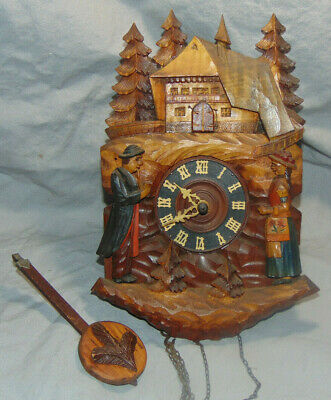 Vintage German Black Forest Wooden Cuckoo Clock Unknown Maker w/ Pendulum