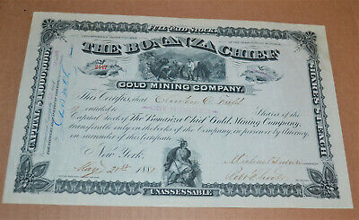 The Bonanza Chief Gold Mining Company 1881 antique stock certificate