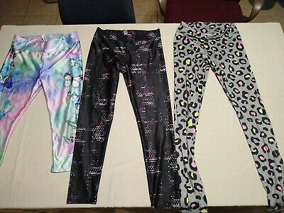 JUSTICE Girls Graphic  Leggings Size 18  LOT OF 3