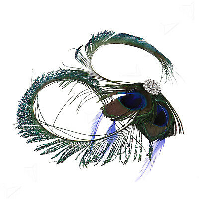 Retro Vintage Peacock Feather Fascinator Bridal Wedding Party Hair Clip Jewelry