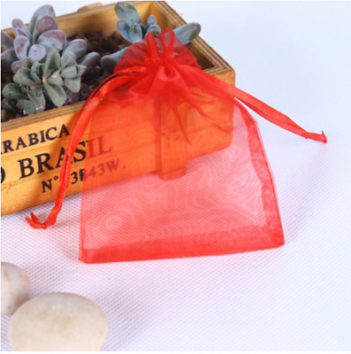 100pcs red Organza Gift Bag Candy Jewellery Pouch Wedding Birthday 7x9cm