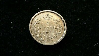 1871 5 Cent CANADA .925 SILVER COIN QUEEN VICTORIA  1,400,000 MINT  CANADIAN #23
