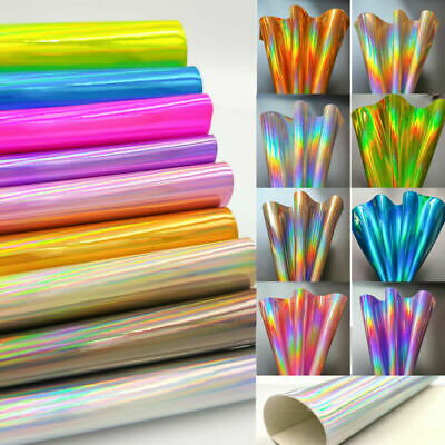 Laser iridescent PU Leather Fabric Rainbow Material Bow Craft Bag Wallet Earring