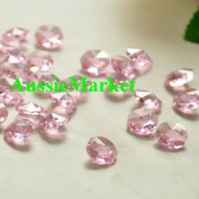 20 x octagon beads 14mm light pink crystal glass mobile chandelier parts 2 holes