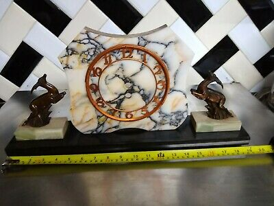ANTIQUE Art Deco 1920/30s French Mantle Clock WITH DEER