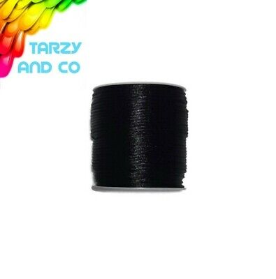 2mm Black Satin Nylon Cord 1 - 40m DIY Silicone Bead Teething Necklace Jewellery