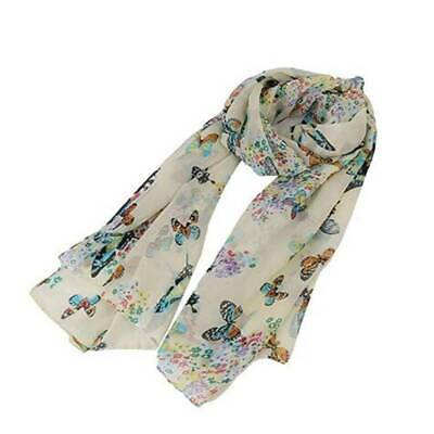 Women Butterfly Print Chiffon Neck Shawl Scarf Scarves Wrap Stole Gifts RE