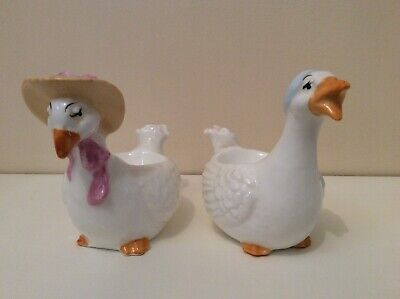 Stunning His And Hers Collectible Porcelain Goose/duck Egg Cups