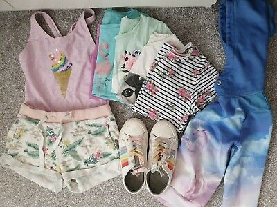 Girls Summer Clothes Bundle Next H&M Trainers Pumps size 1 shorts hoody 9-10