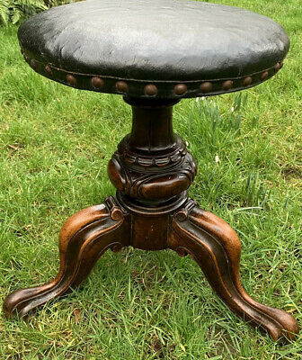 Antique Piano Stool Victorian Mahogany Music Rotating