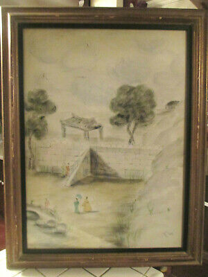 Antique / Vintage Asian Chinese Woman Village Watercolor Painting  Signed
