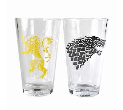 Game Of Thrones Glass Stark and Lannister Sigils Official Large Boxed 2 pack One