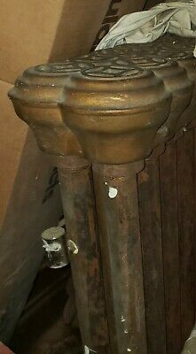 1890 steam radiator with ornate cast iron cover - 2 pipe width, length varies