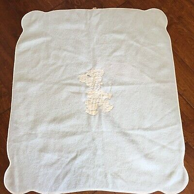 Antique blue wool satin trim baby blanket Bear Applique 36x42 The Galante Studio
