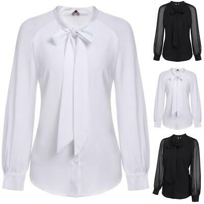 Women Bow-Tie Neck Long Sleeve Patchwork Casual Button Down Shirt BE0R 02