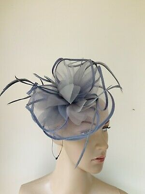 Silver Grey Feather Hair Clip Fascinator Wedding Ladies Race Day Accessories