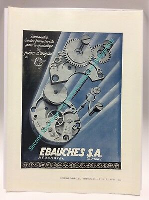 Ebauches S.A. Replacement Parts 1954 Vintage Watch Advertisement