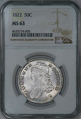 1822 NGC MS63 PQ Bust Half, a choice frosty white specimen with nice eye appeal