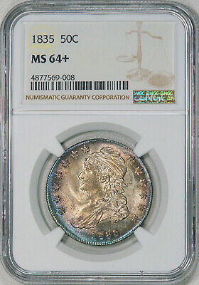 1835 NGC MS64+ Bust Half, super original with blazing luster & great eye appeal!