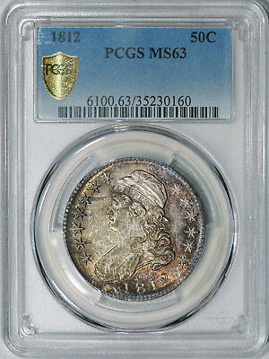 1812 PCGS MS63 Bust Half Dollar, clean surfaces, natural toning, blazing luster