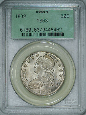 1832 PCGS MS63 OGH Bust Half, brilliant luster, strong detail & great eye appeal