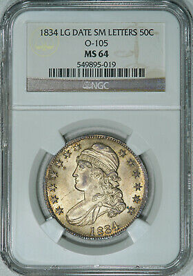 1834 NGC MS64 Bust Half, lustrous strongly struck piece w/ very nice eye appeal