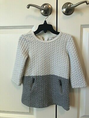 Gap Kids Baby/Toddler Girls White/Grey Quilted Long Sleeve dress size 2T