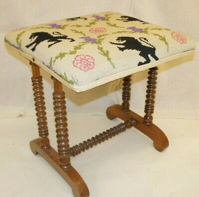 Embroidered Antique Regency Rosewood Foot or Piano Stool Bobbin Shabby Chic