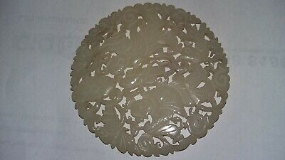 large 19th century chinese carved jade plaque,pendant,disc,chinese figures