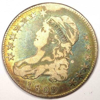 1809 III Edge Capped Bust Half Dollar 50C - Sharp Details - Rare Coin - Rainbow!