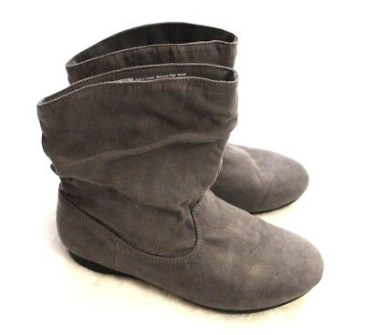 Faded Glory Girls Boots Size 3 Youth Gray Faux Suede Slouche Dressy Casual