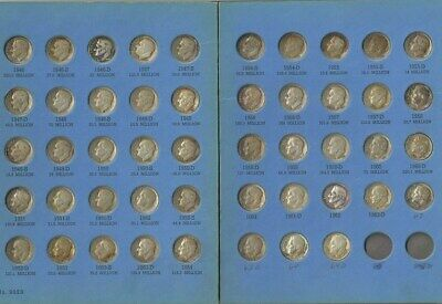 1946-1964 Silver Roosevelt Dimes  complete set (48 coins) in folder  Circulated
