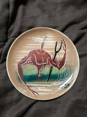 Marc Bellaire Signed Mid Century Ceramic Plate Abstract Male Beachcomer Design