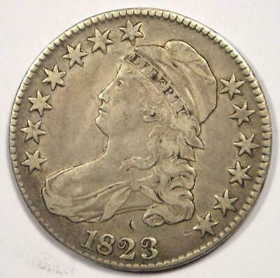 1823 Capped Bust Half Dollar 50C - Sharp Details - Scarce Date - Rare Coin!