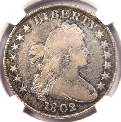 1802/1 Draped Bust Silver Dollar $1 Coin - Certified NGC VF Details - Rare!