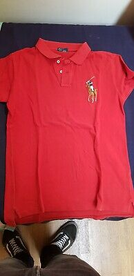 Mens Polo Ralph Lauren Wine Red Button Up Short Sleeved Polo Shirt Size L Large