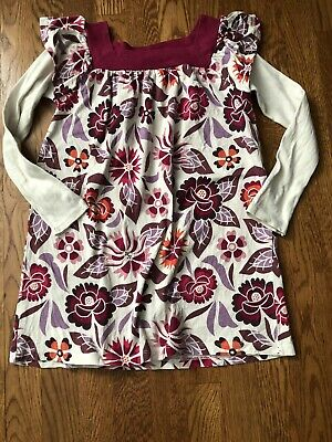 Tea Collection Girls Floral Multicolor Layered Long Sleeve Print Dress Size 6