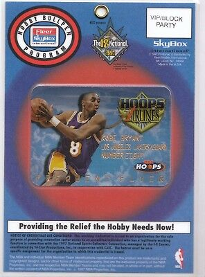 Kobe Bryant 1997-98 Hoops Airline Card 18th National Sports Convention Pass
