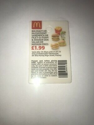 Mcdonalds Meal Tickets Key Ring - Pay only £1.99 Unlimited Use